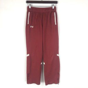 Under Armour Burgundy White Ankle Zip Pants Sz S